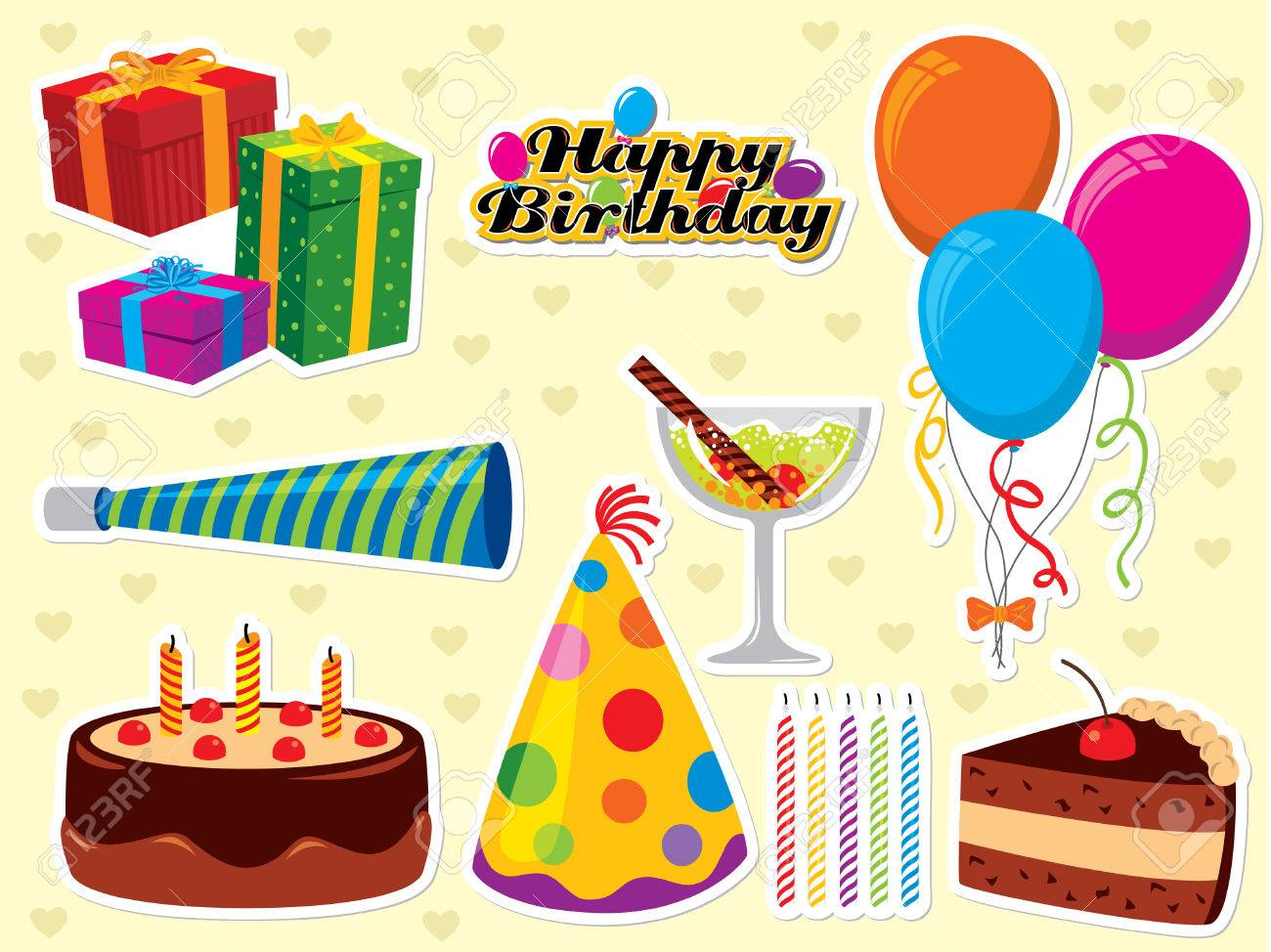 Happy Birthday set. Use to create greeting cards and party invitations. Please visit my portfolio for similar images. - 4954830