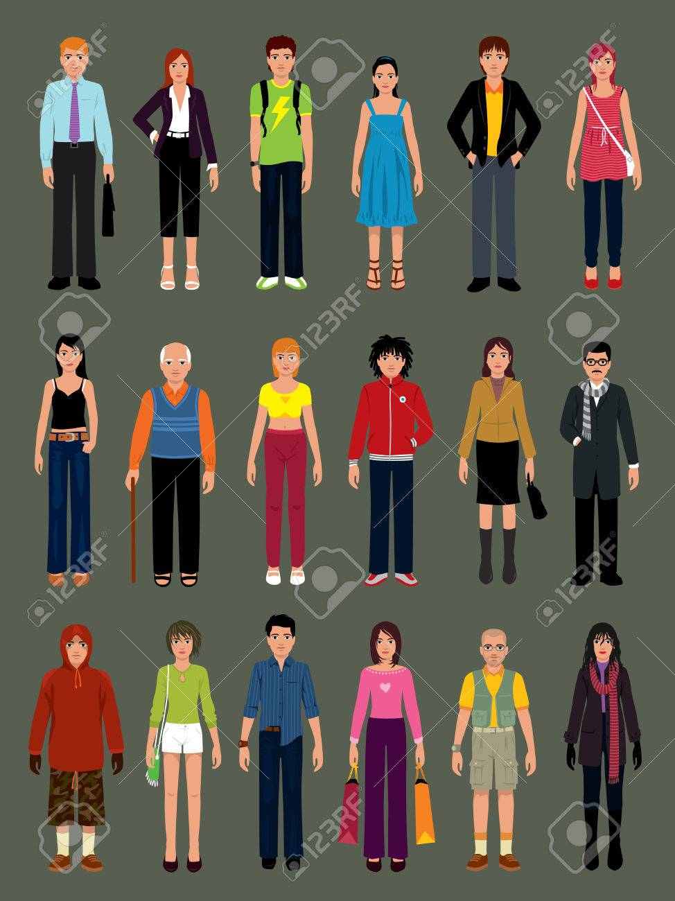 Pack of people in various situations. More illustrations in my portfolio. Stock Vector - 5203871
