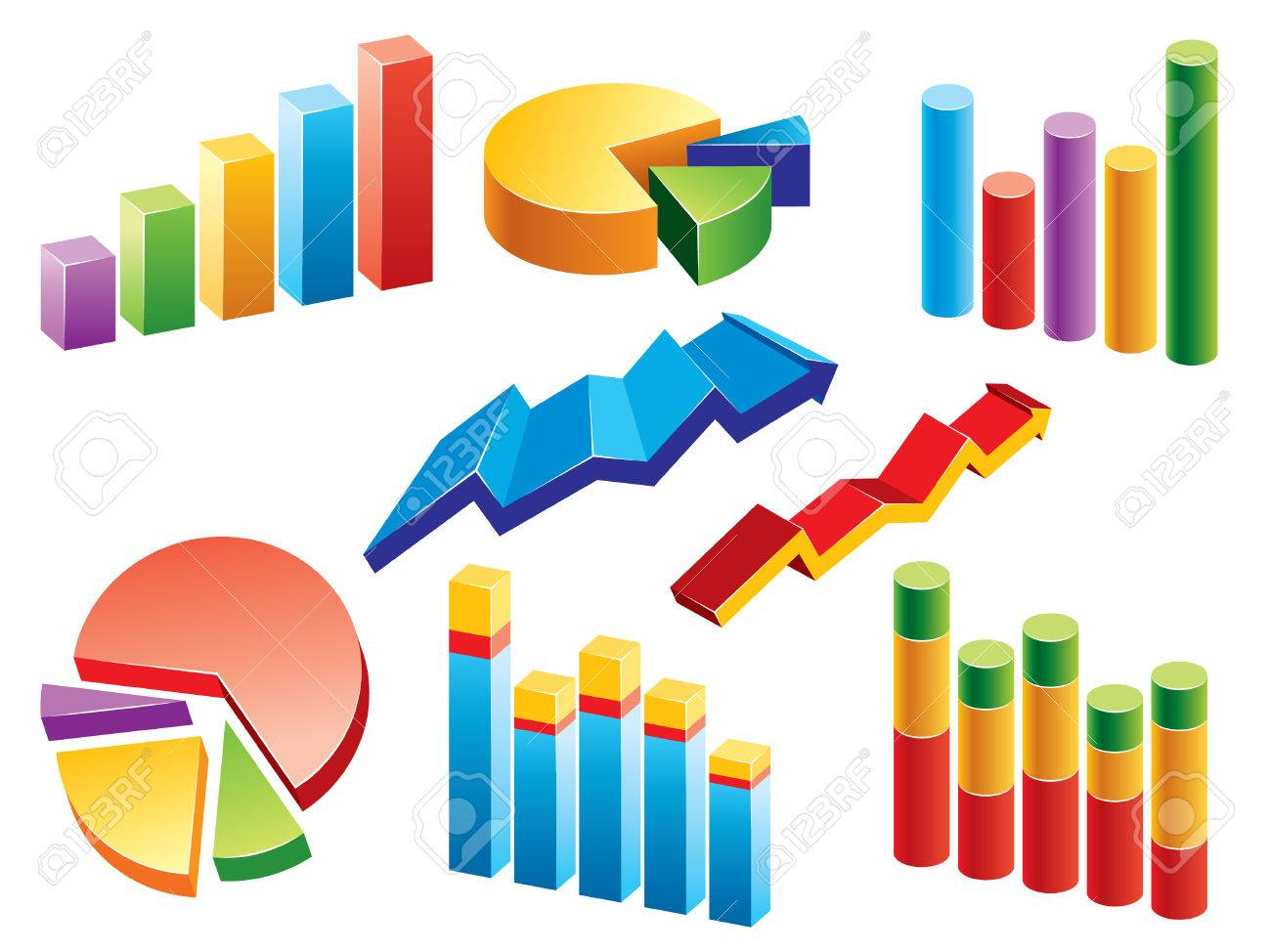 Collection of graphs and charts. More illustrations in my portfolio. Stock Vector - 5203866