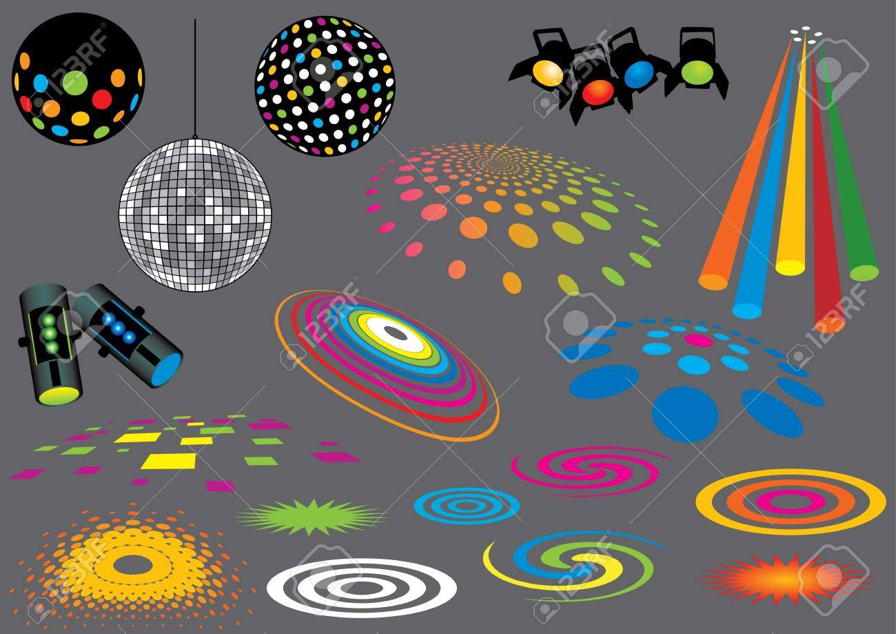 Music Set #7: Disco Lights. Visit my portfolio for many more music and other design elements. Stock Vector - 5834383