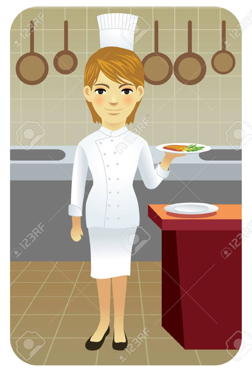Vector illustration of young female cook holding a plate of food in the kitchen. Stock Vector - 5862486