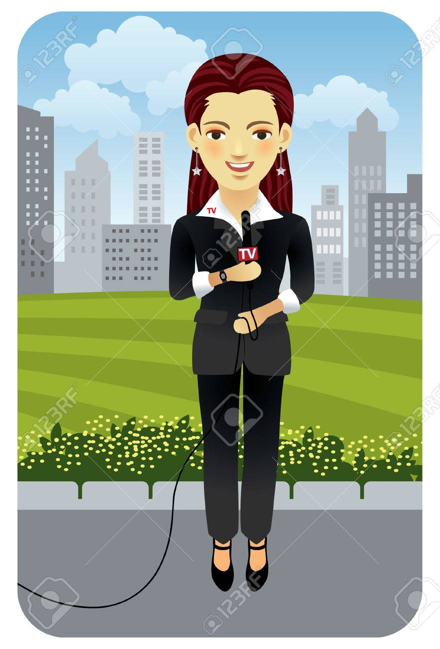 Vector illustration of a female television reporter. More active people in my portfolio. Stock Vector - 5862491