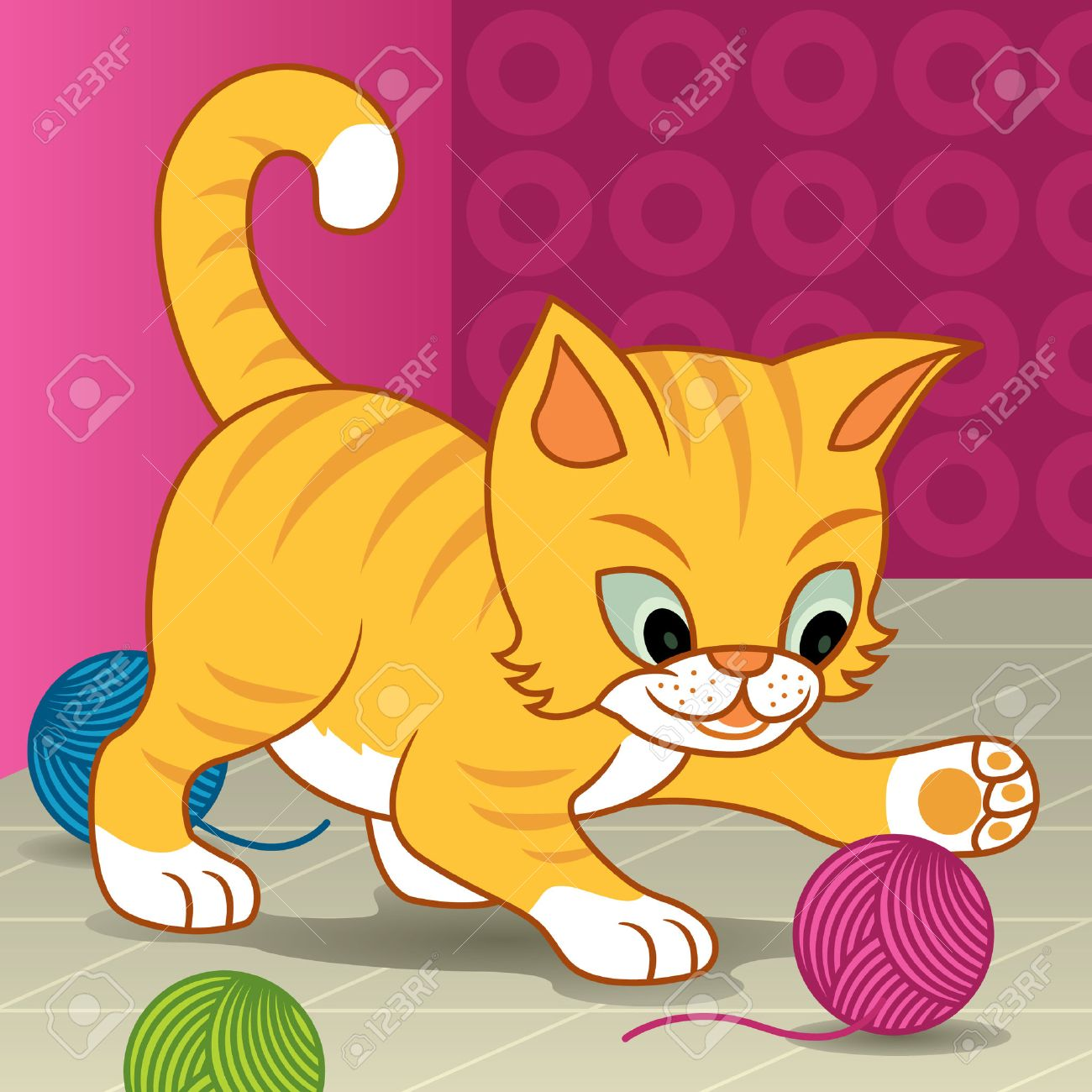 Vector cartoon illustration of a small kitten playing with a ball of yarn - More animals in my gallery. Stock Vector - 6721882