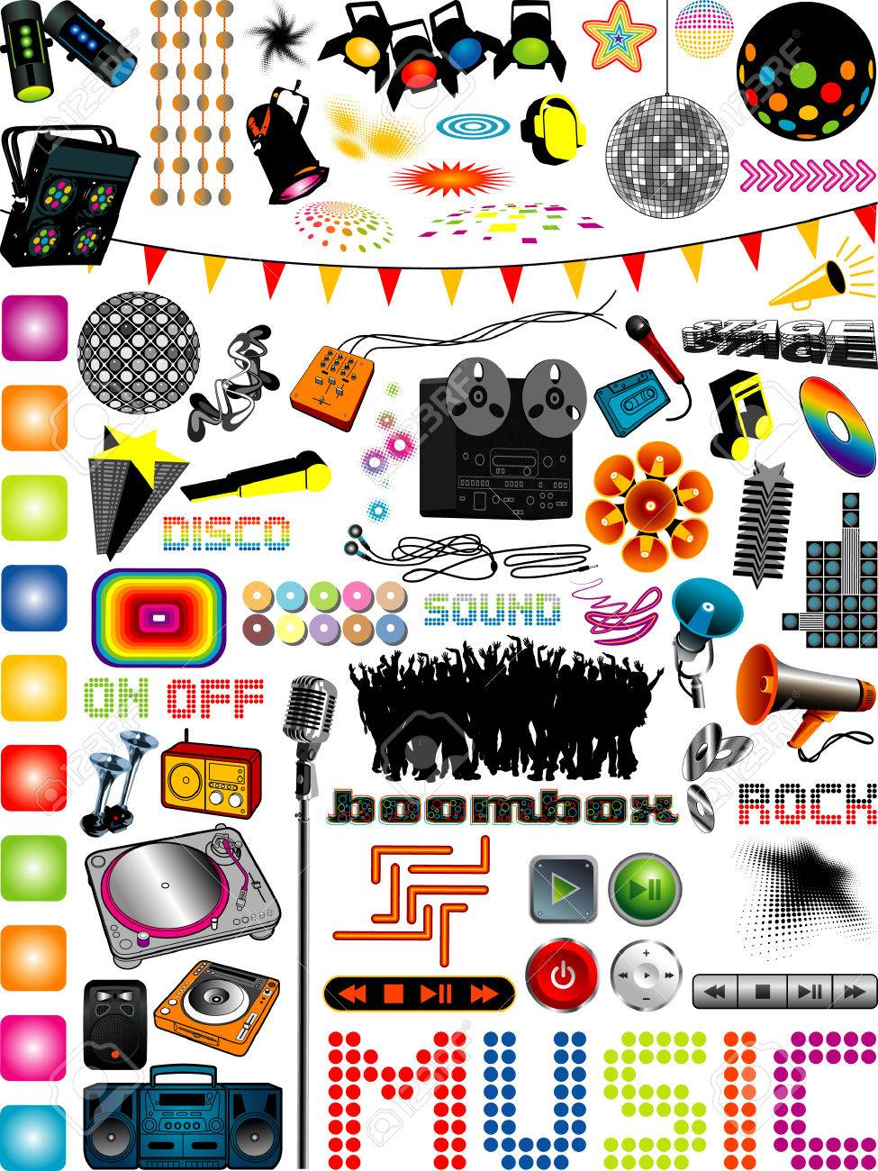 graphics collection with many different music design elements, more music illustrations in my portfolio. Stock Vector - 8195431