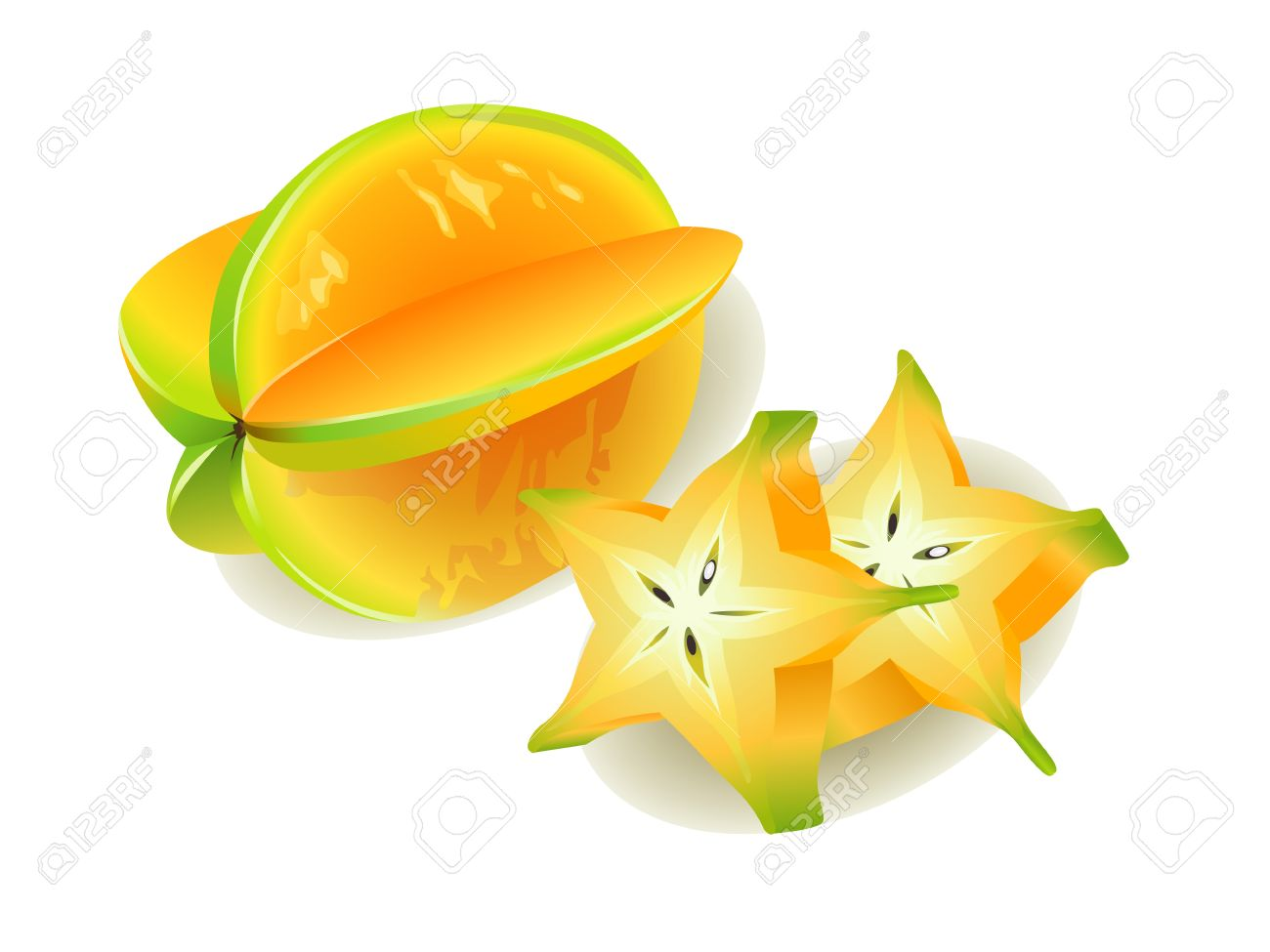 Realistic Vector Illustration Of A Carambola Or Starfruit And ...