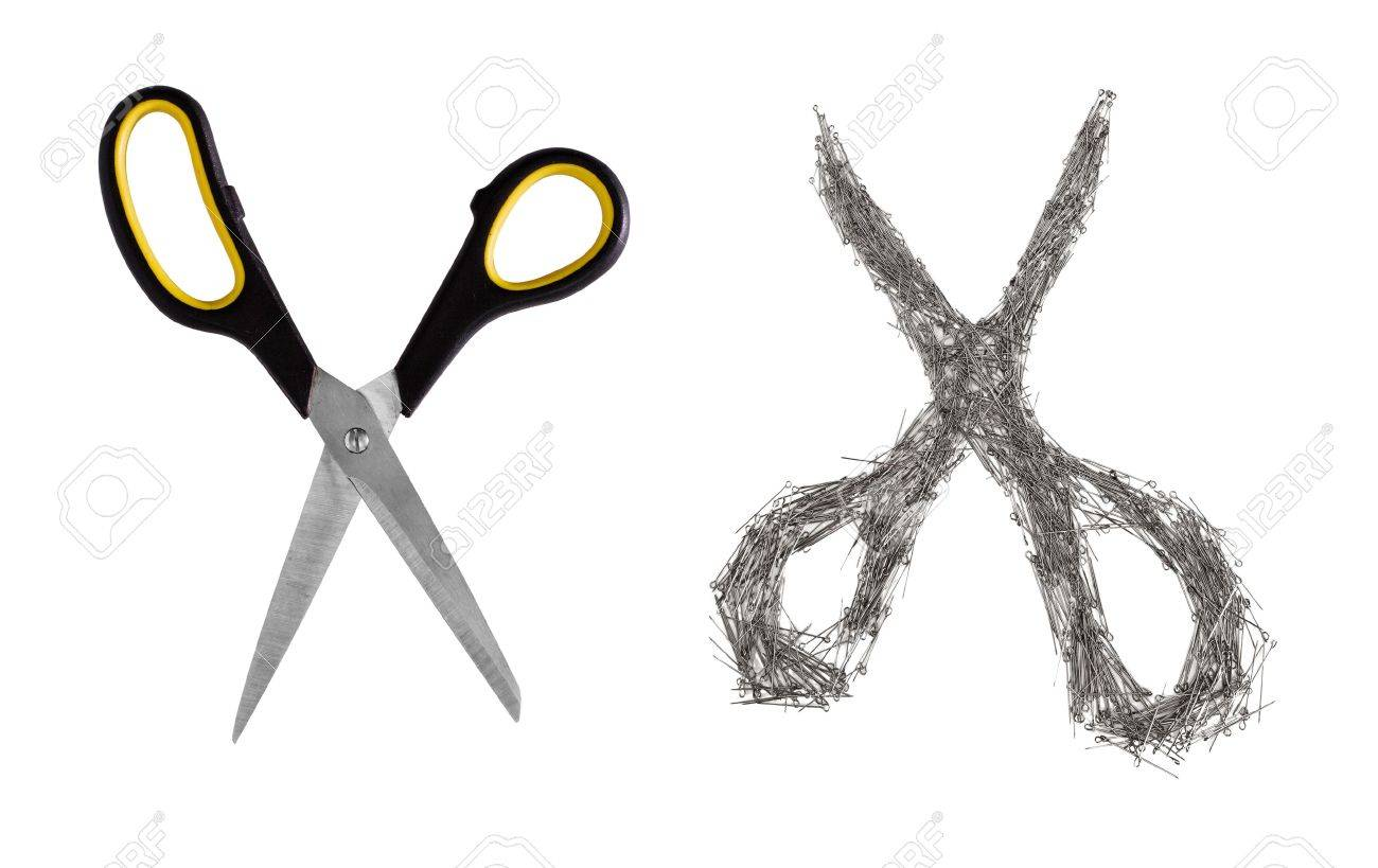 Scissors real and artificial, made of safety pins