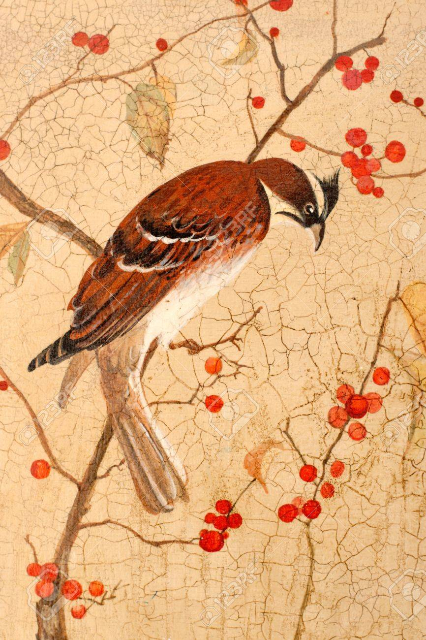 Painting. Colorful bird on branches with red berries Stock Photo - 11501460