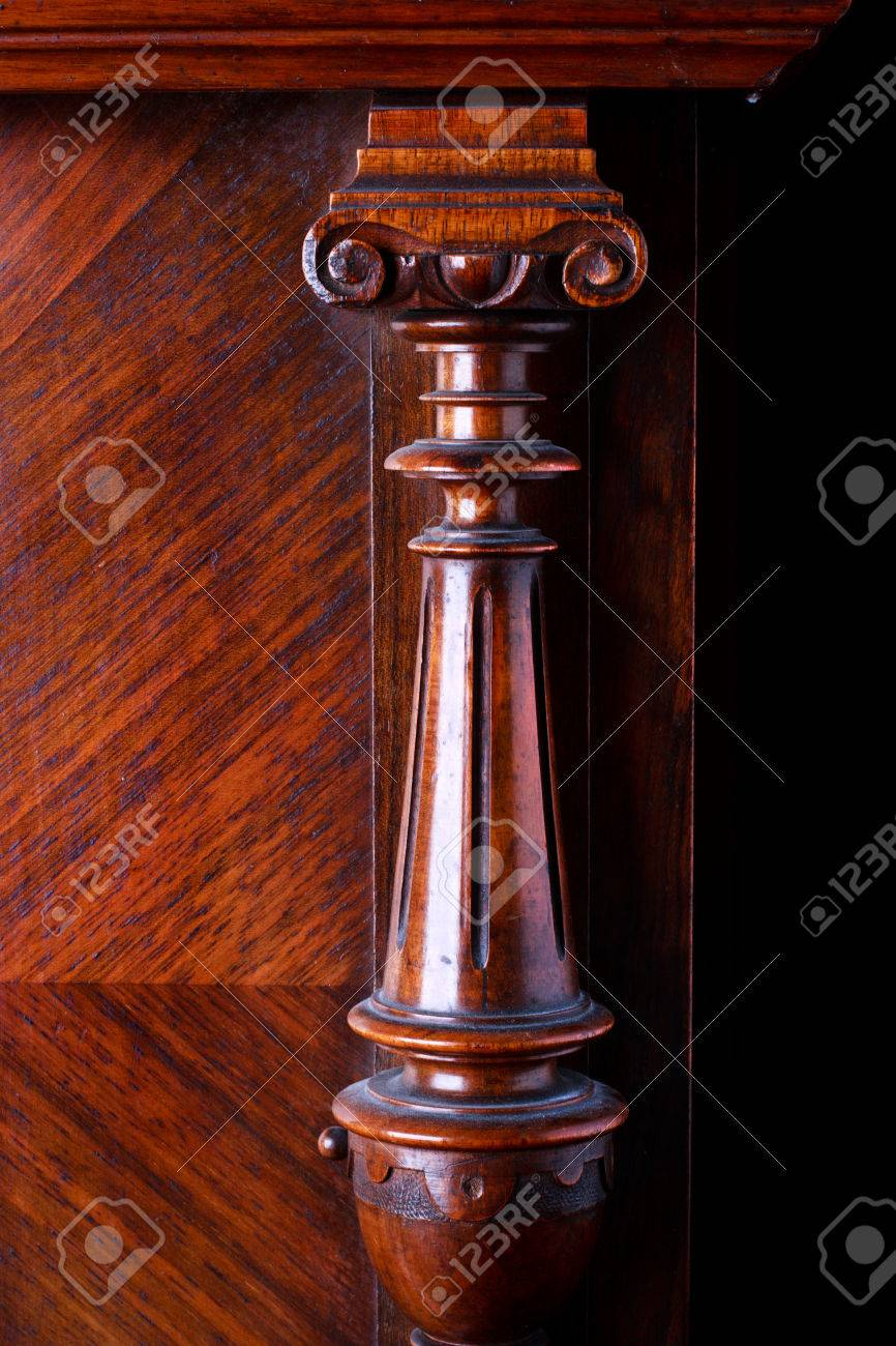 detail of an old German piano  A carved wooden decoration Stock Photo - 22443828