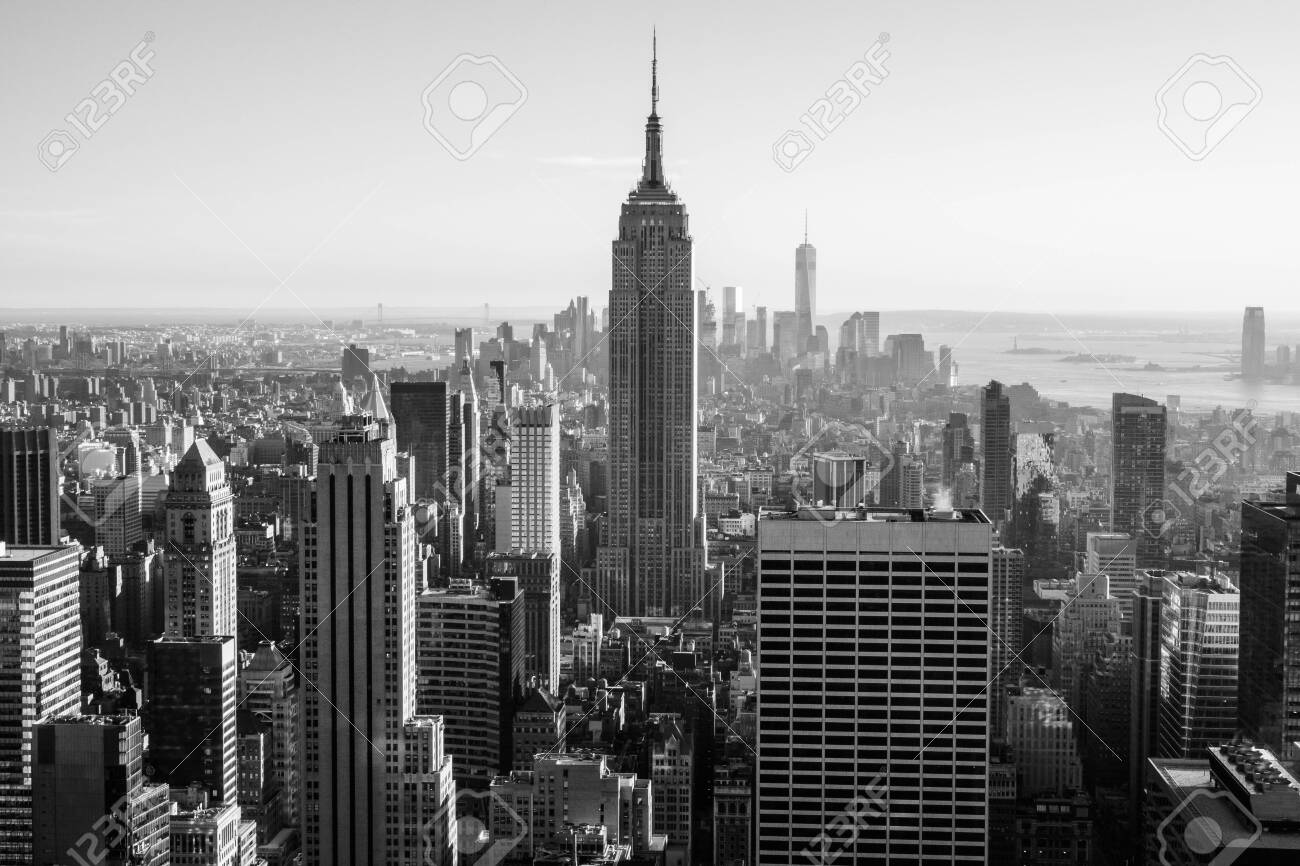 New York, USA - September 24, 2015: View of New York city and Empire State building from Top of The Rock. - 148099729