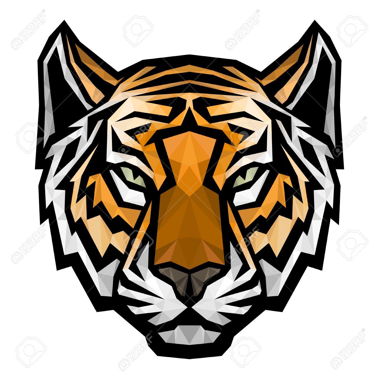 tiger head logo mascot vector polygonal colored isolated rh 123rf com tiger head logo free tiger head mascots