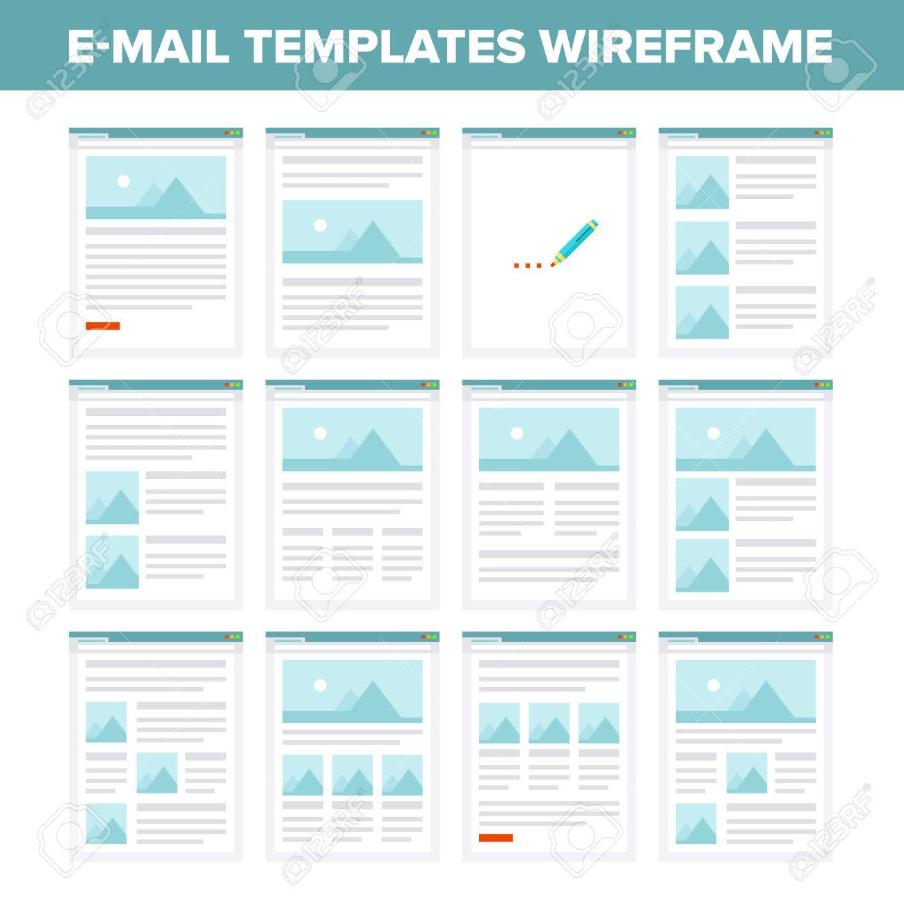 Vector Collection Of Flat Email Templates Wireframe Royalty Free