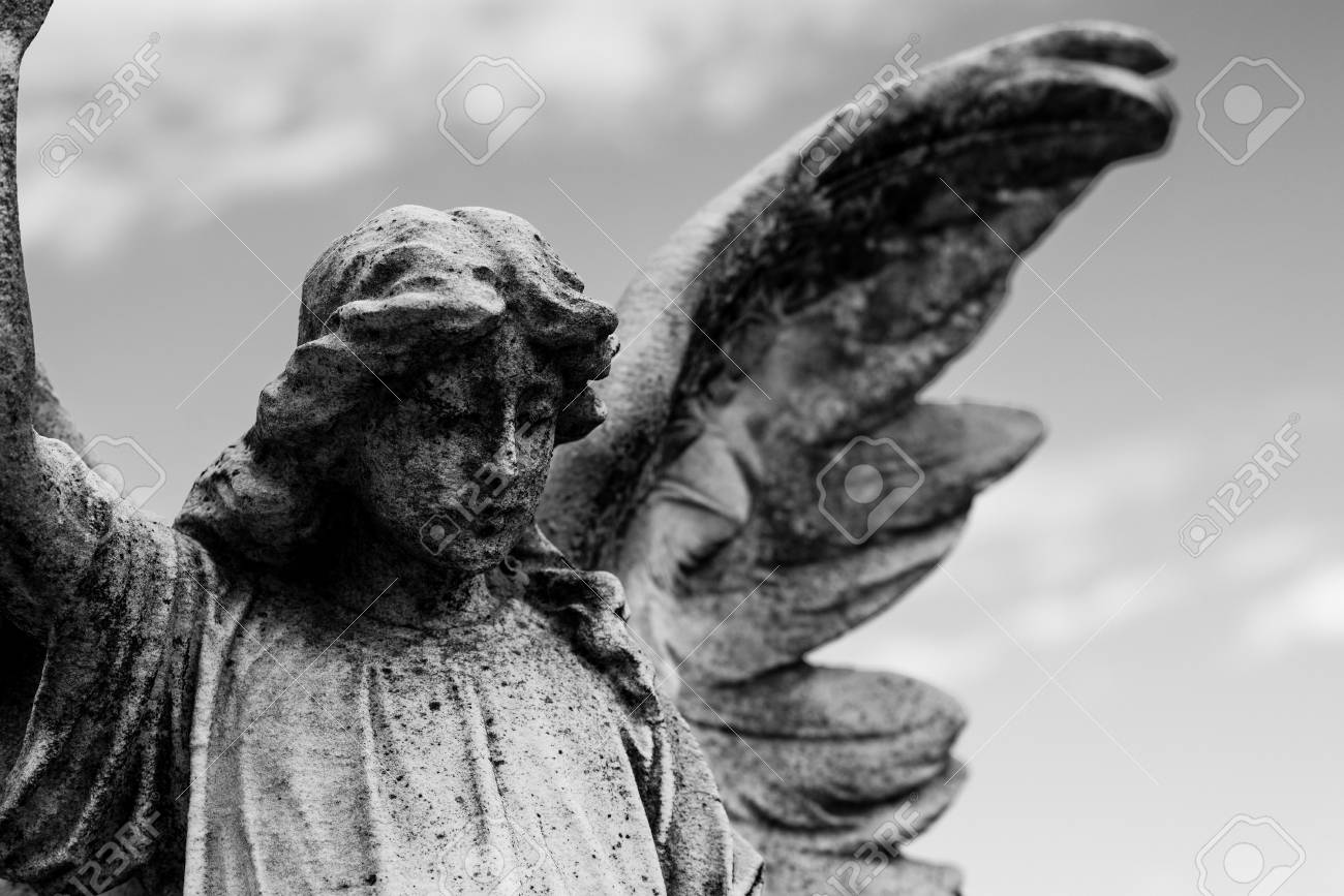 Guardian angel black and white photo religious icons stock photo 78010863