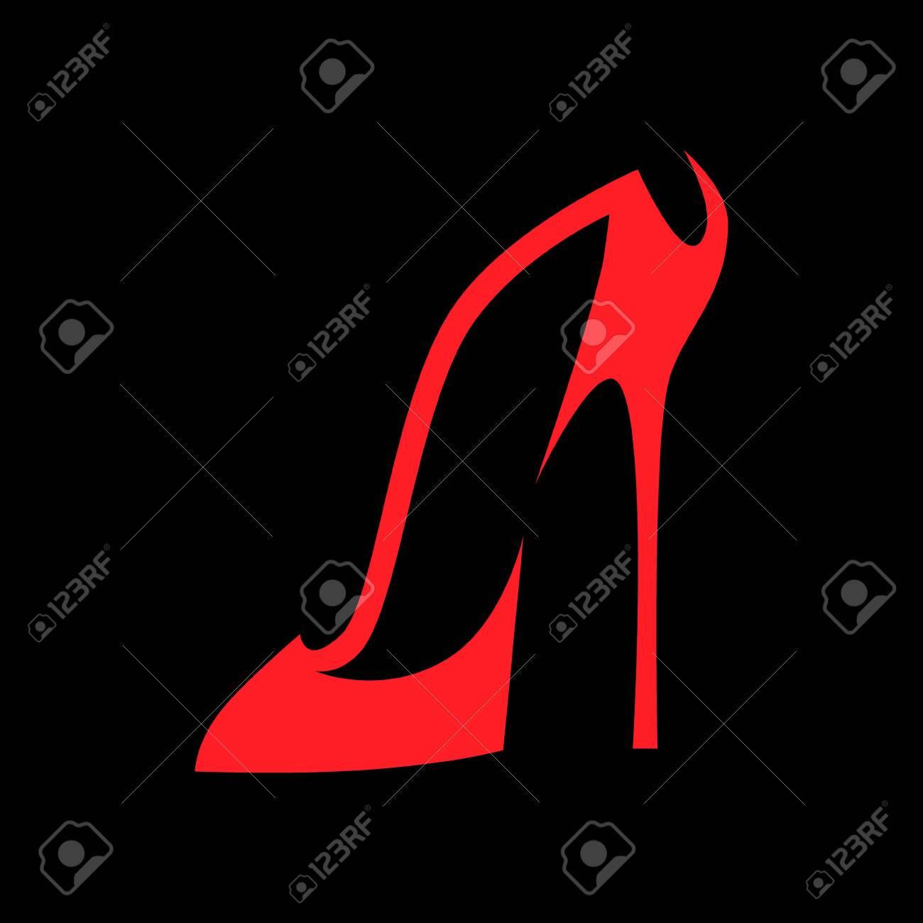 High heel shoe symbol on black backdrop - 138431093