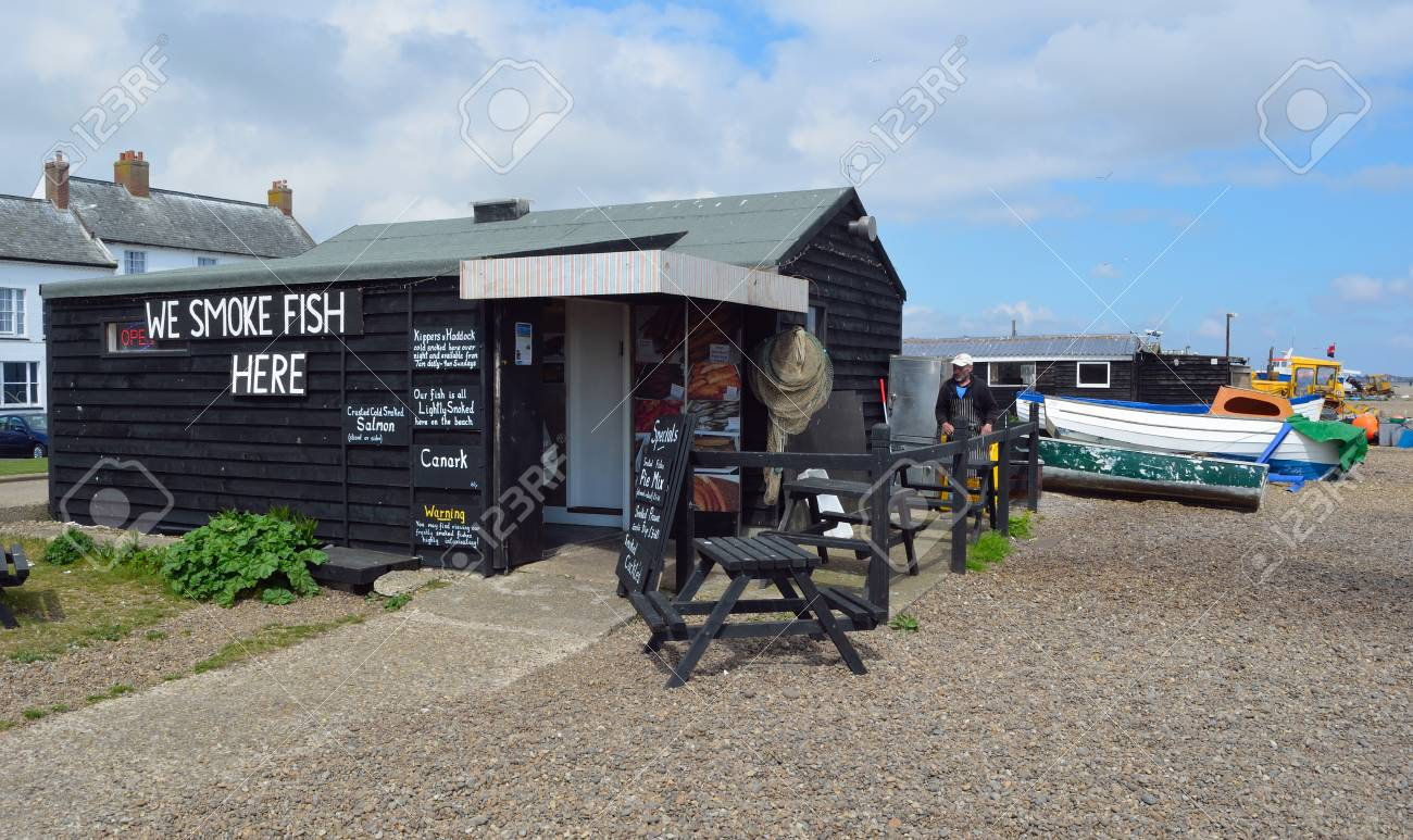 Hut selling fresh fish on Aldeburgh beach