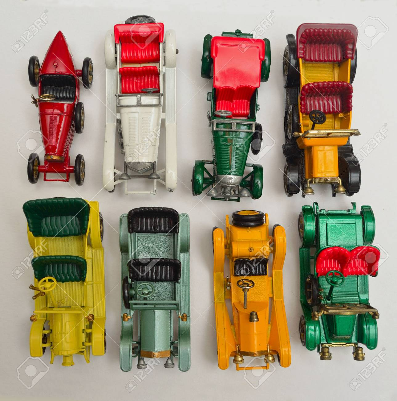 Eight Diecast Toy Vintage Cars Stock Photo - 60733662