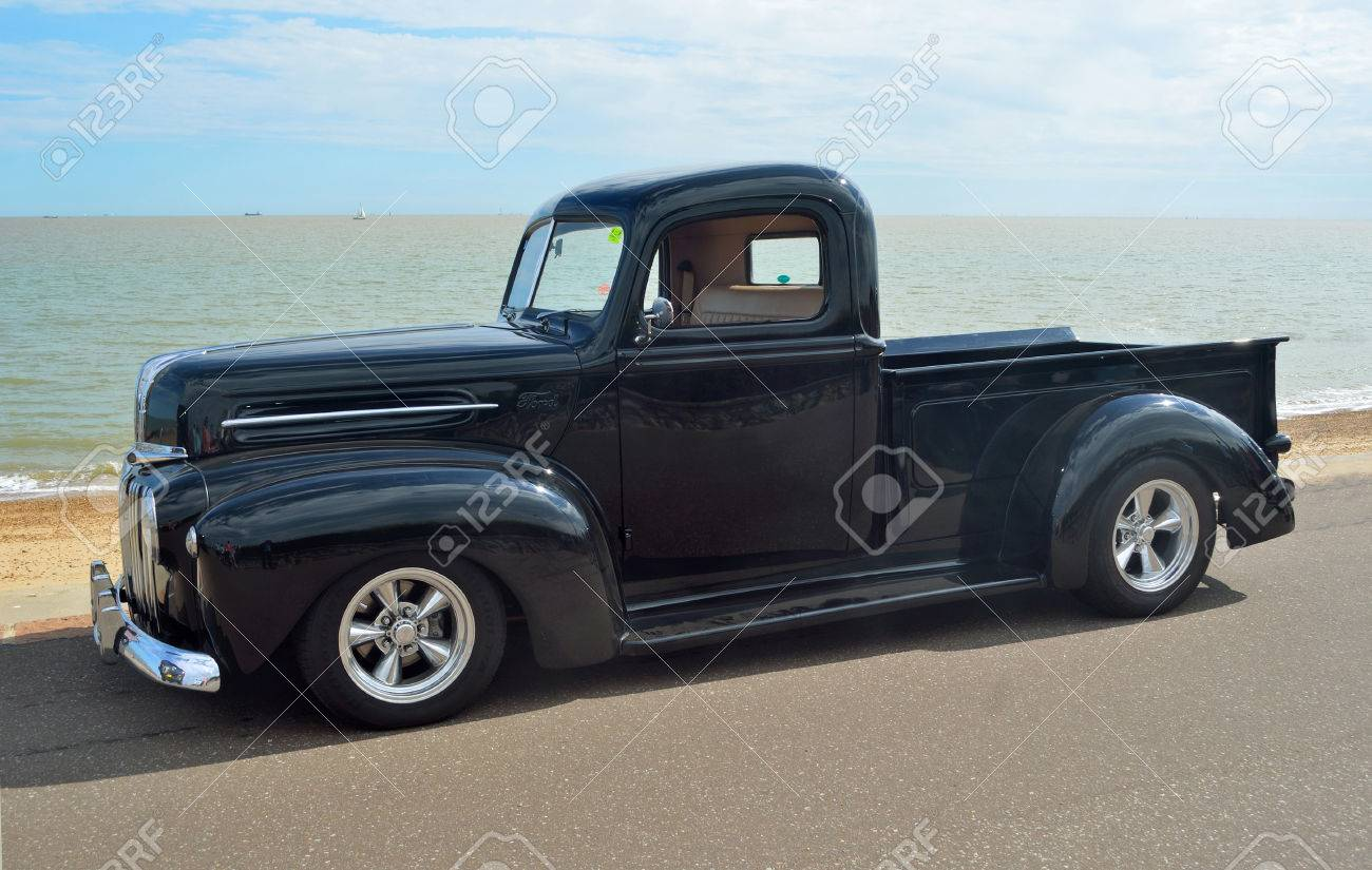 Classic Black Ford Pickup Truck On Felixstowe Seafront. Stock Photo ...