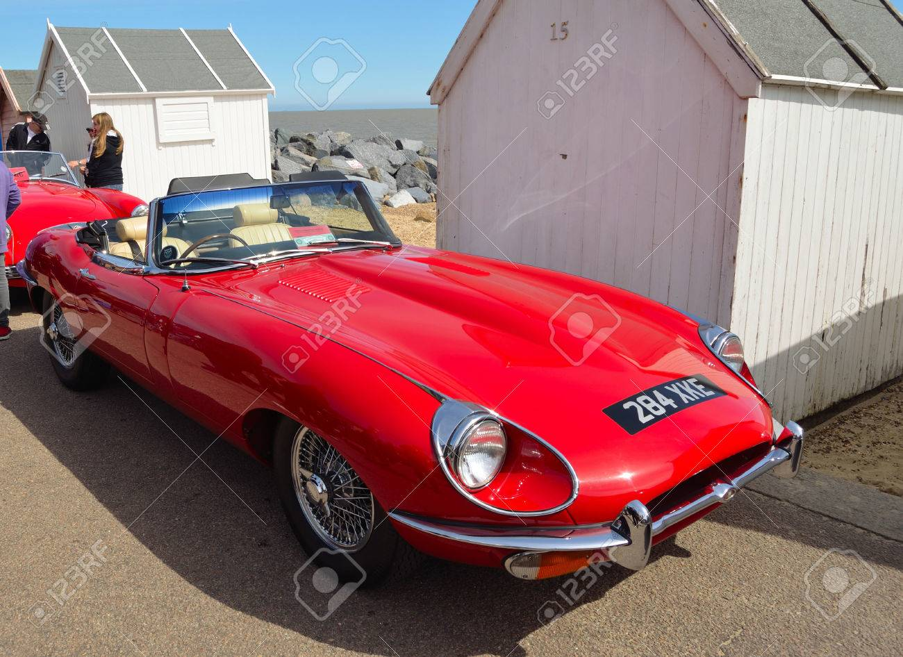 Classic Red E Type Jaguar Open Top Sports Car Parked On Seafront Stock Photo Picture And Royalty Free Image Image 68767100