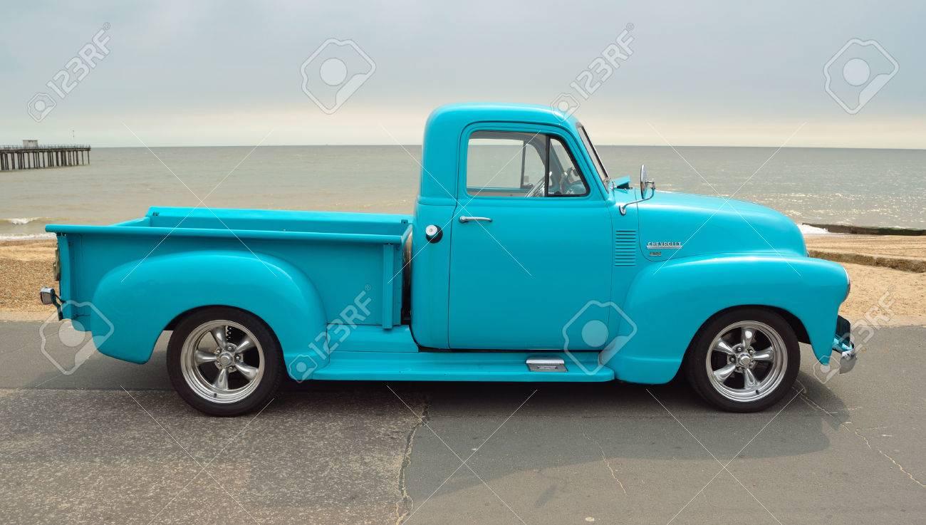 Classic Light Blue Chevrolet 3100 Pickup Truck On Seafront Promenade ...