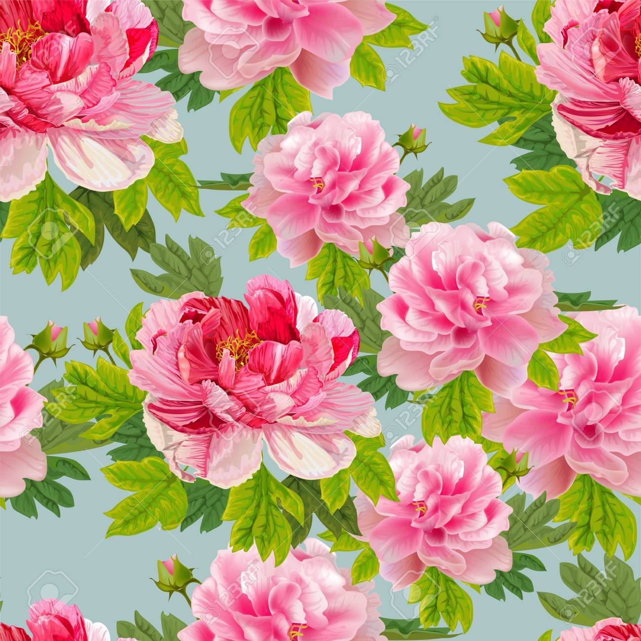 Peonies And Leaves On The Light Blue Background Romantic Garden