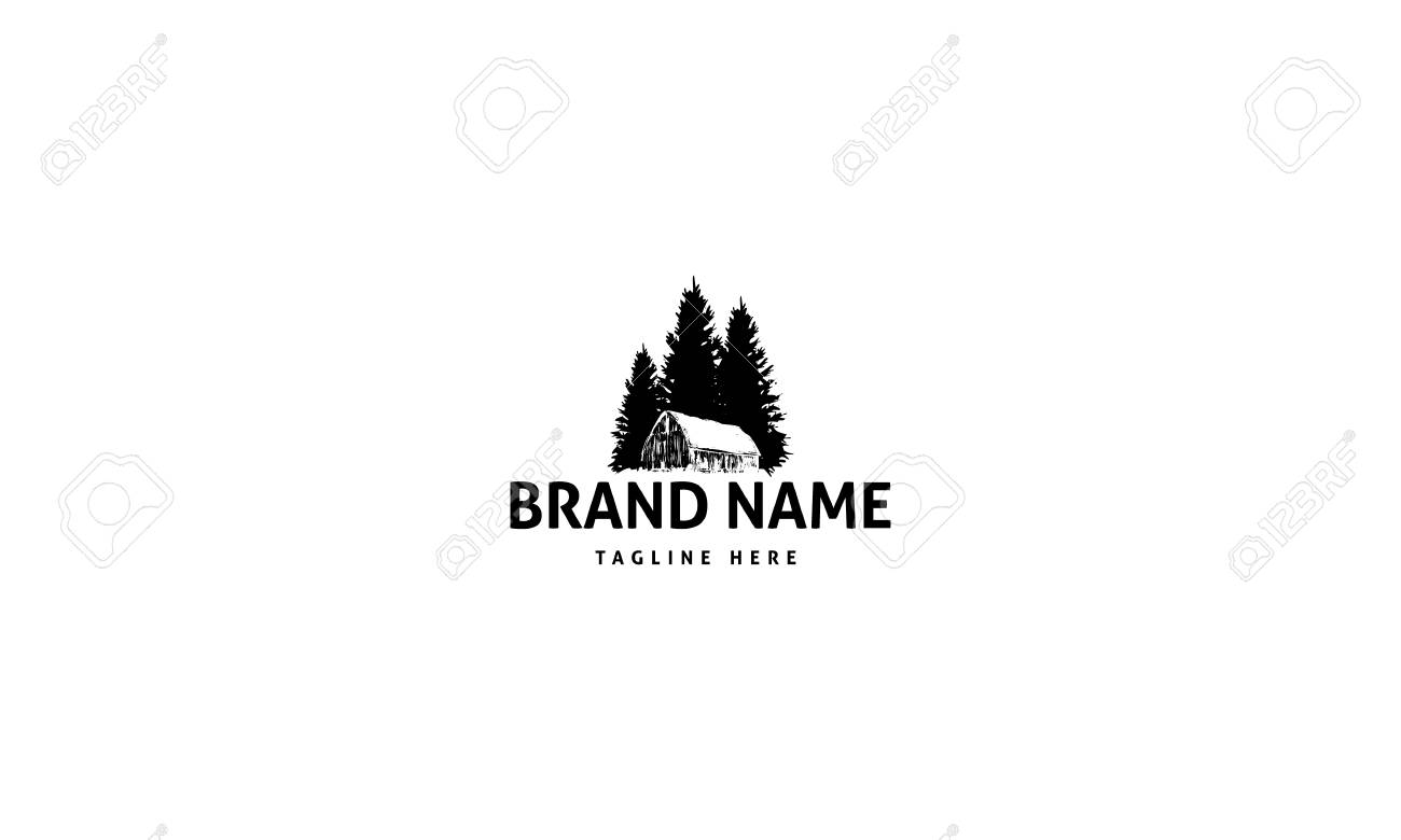 Abstract image of an old barn on the background of three pines. - 118921710