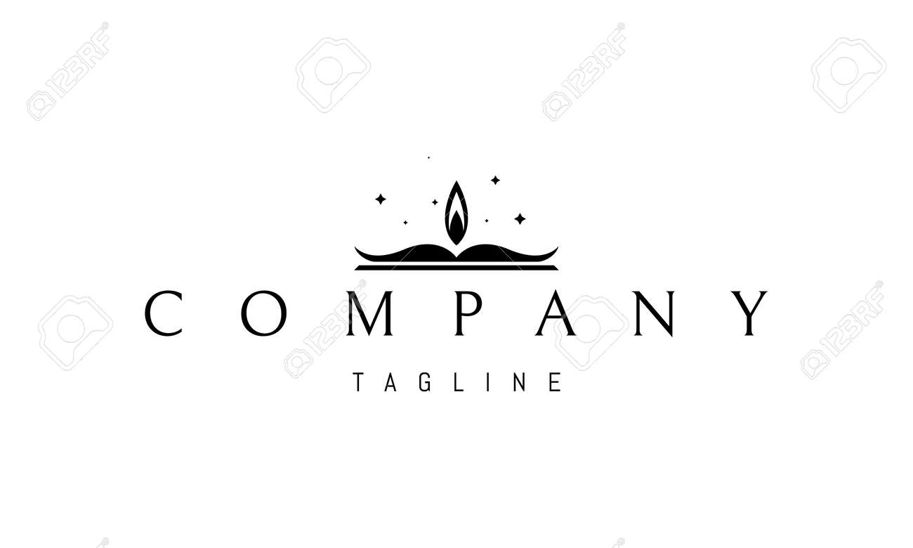 Vector logo on which an abstract image of an open book with a candle flame on top. - 172133707