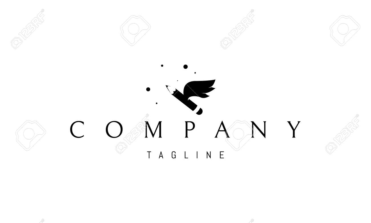 Vector logo on which an abstract image of inspiration in the form of a pencil with wings. - 172133714