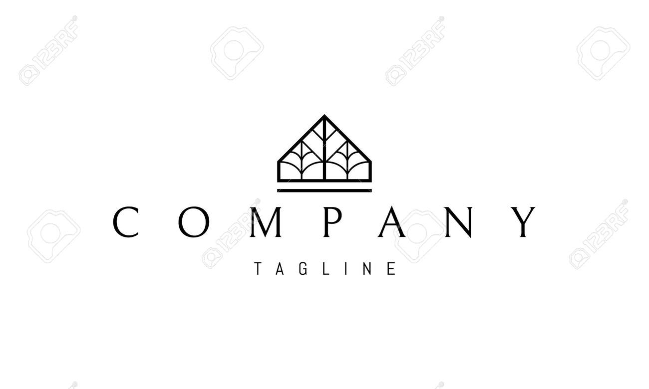 Vector logo on which an abstract image of the silhouette of a house with trees inside. - 172133539