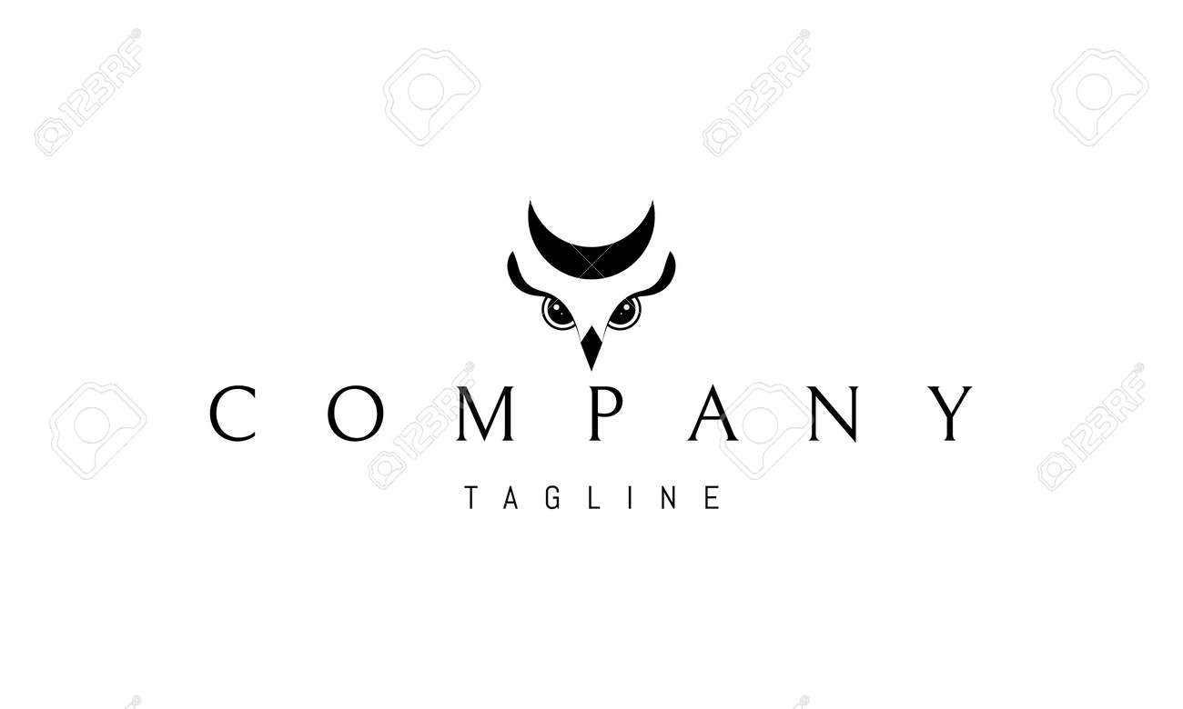 Vector logo on which an abstract image of an owl with a moon above its head. - 172555706