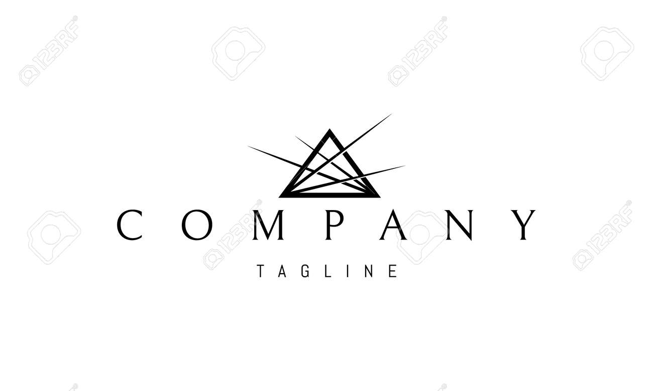 Vector logo on which an abstract image of a pyramid with rays of light from the corners. - 172702111
