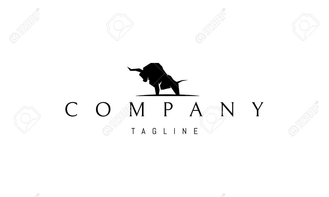 Vector logo on which an abstract image of a powerful bull. - 172702112