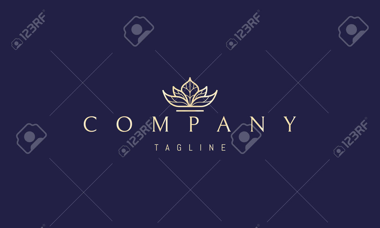 Vector golden logo on which an abstract image of a lotus flower with a pattern on the leaves. - 173378336