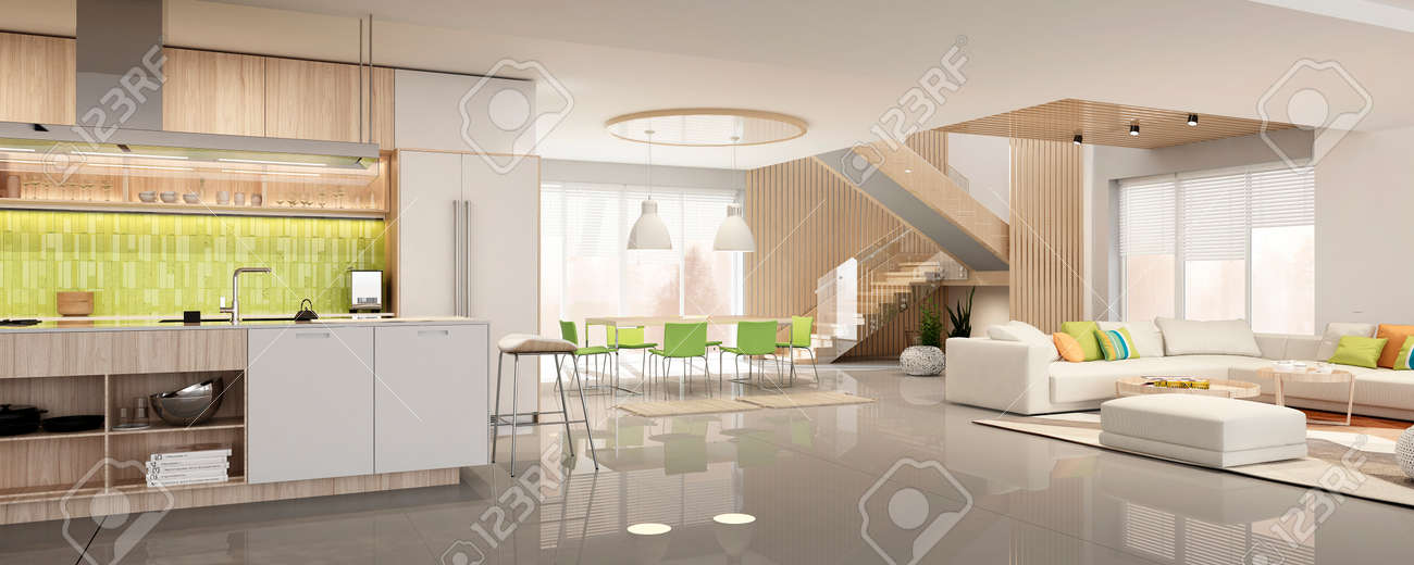 Modern interior of kitchen with living room - 165163613