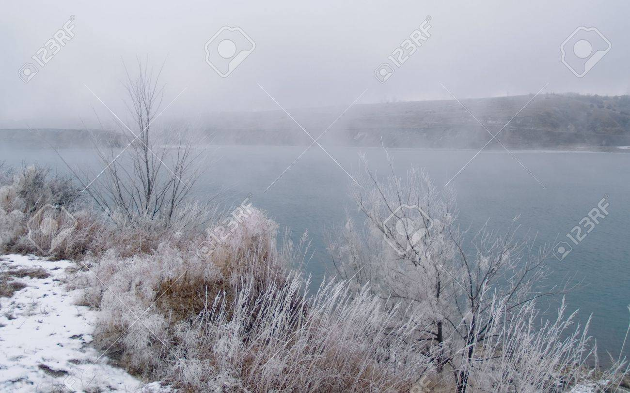 Foggy Winter River -  Missouri River in South Dakota. Stock Photo - 2319465