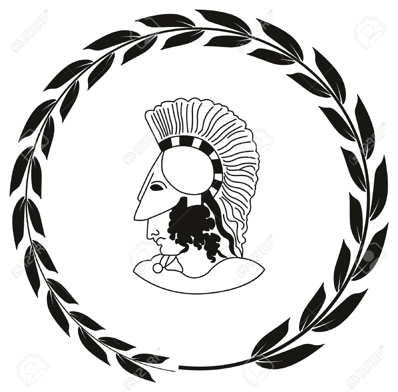 Hand Drawn Decorative With Head Of The Ancient Greek Warrior Royalty