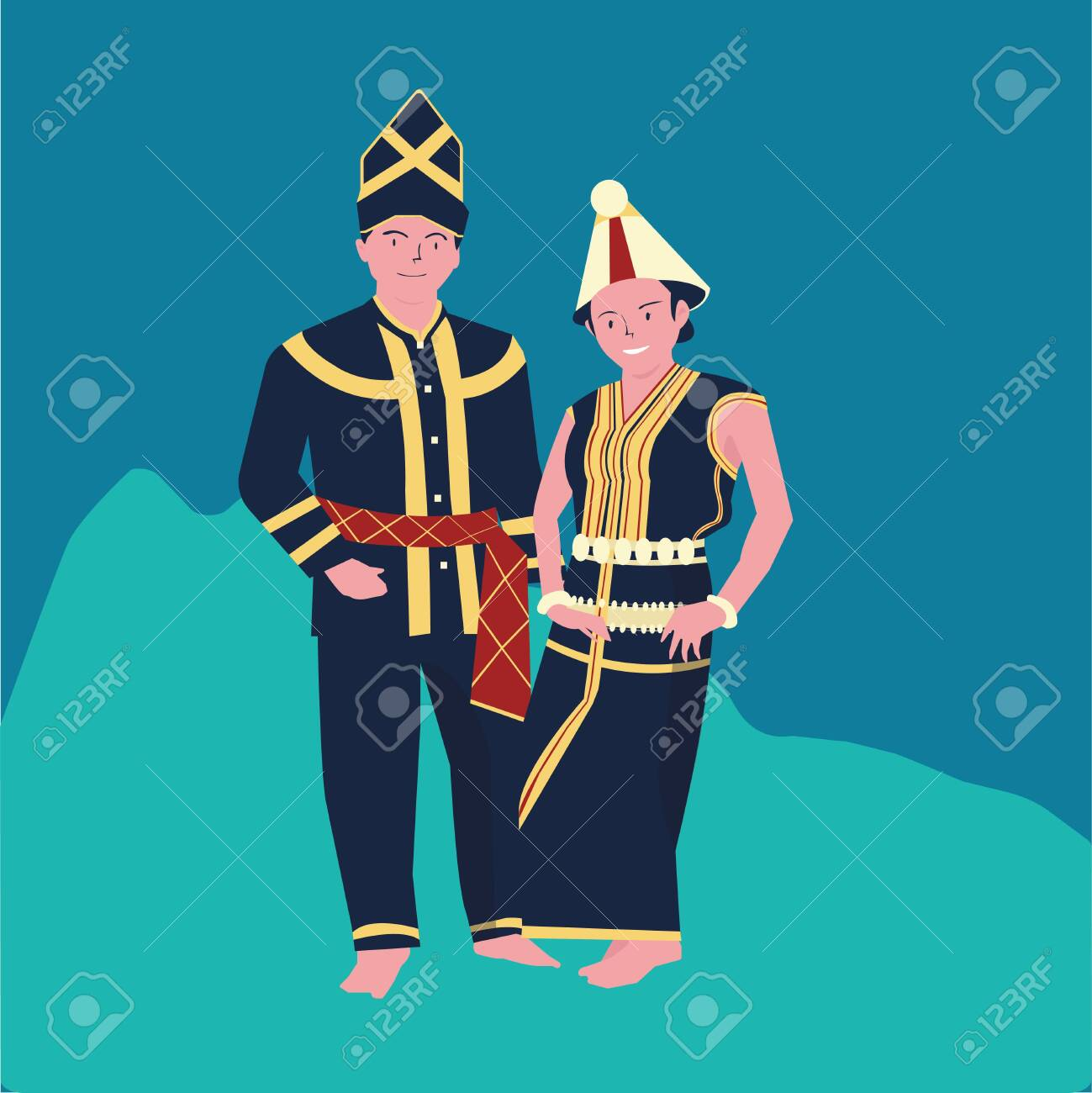 vector illustration of The KAAMATAN (hari kaamatan)festival:man and women KEDAZAN DUSUN dance (2) - 147949689