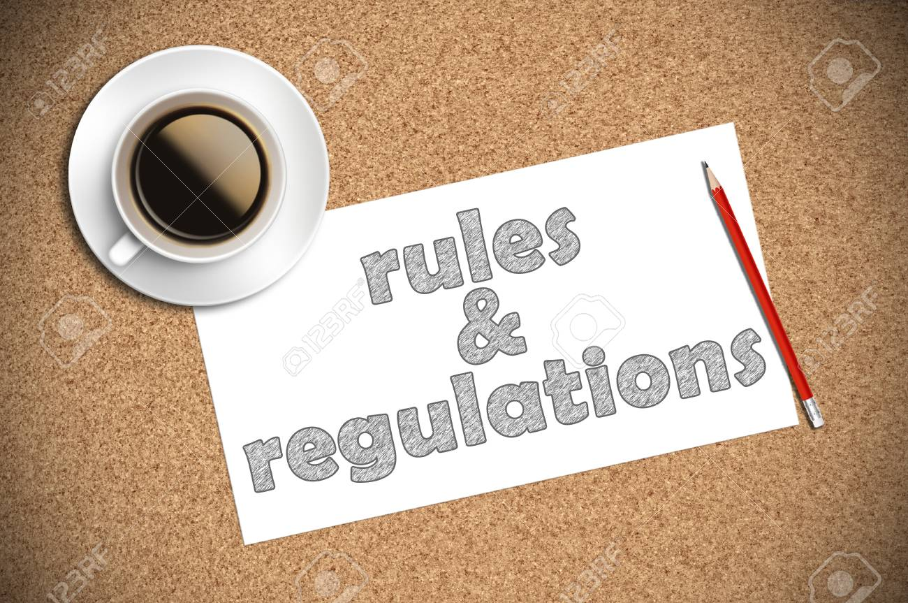 Coffee and pencil sketch rules regulations on paper stock photo 46658893