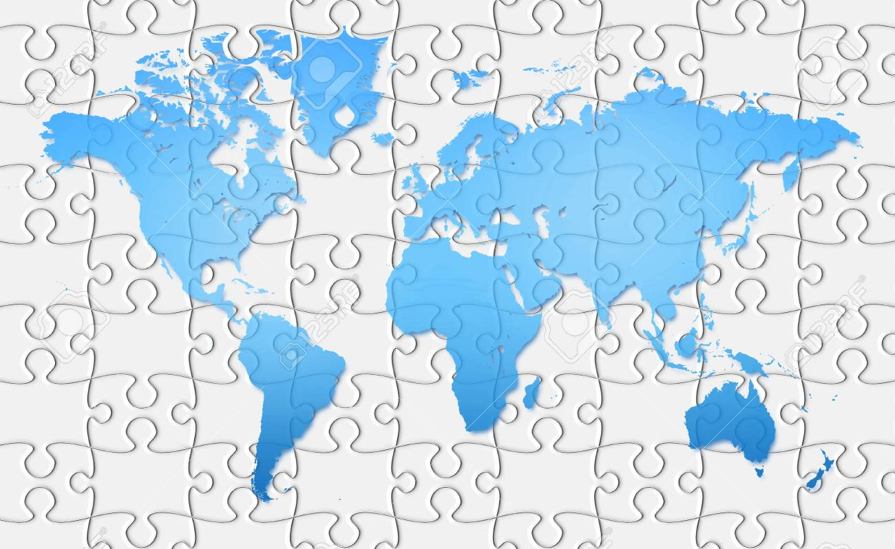 world map on jigsaw puzzle.