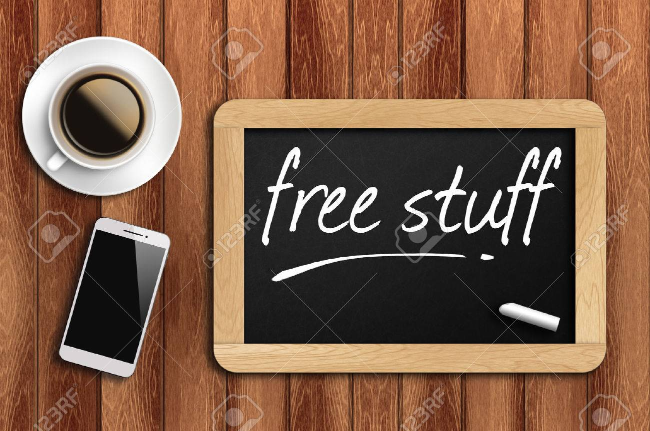 The coffee, phone and chalkboard with word free stuff