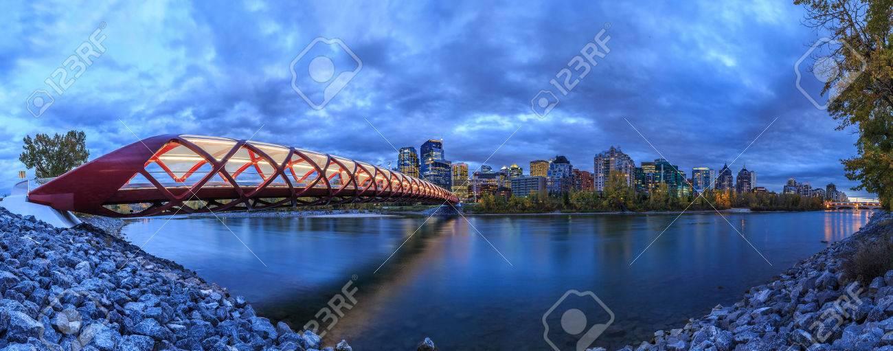 Peace Bridge over Bow River in Calgary, Canada - 33704981