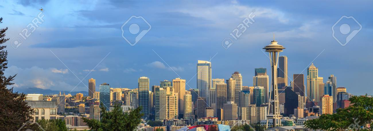 Helicopter over Seattle city - 82164339