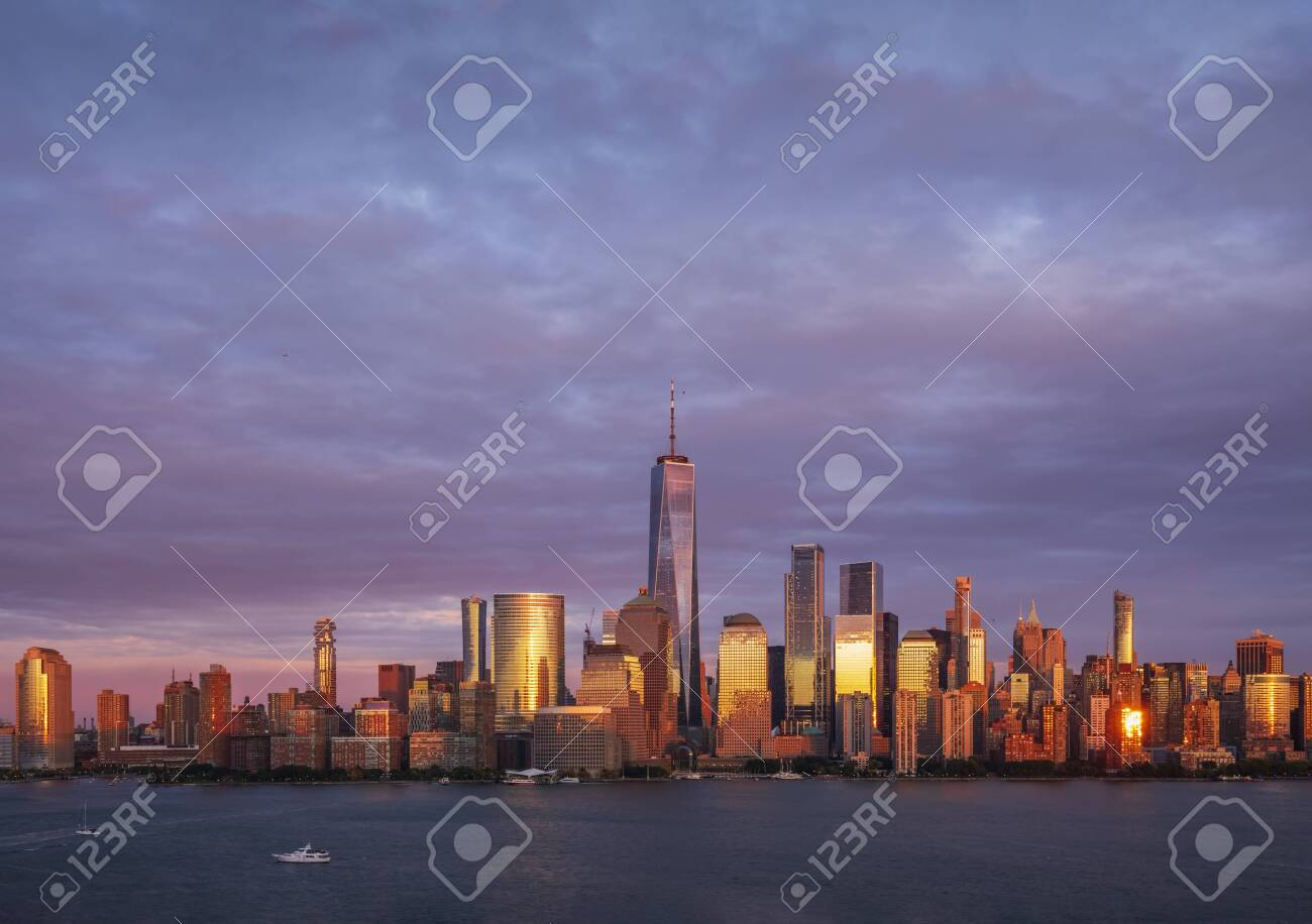 View of Manhattan skyline from New Jersey at sunset, New York City, USA - 140842699
