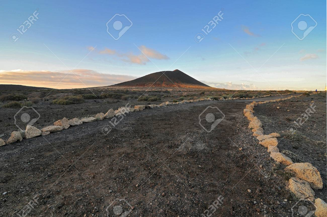Sand road to a hill  to infinity in Tenerife, spain Stock Photo - 19186931