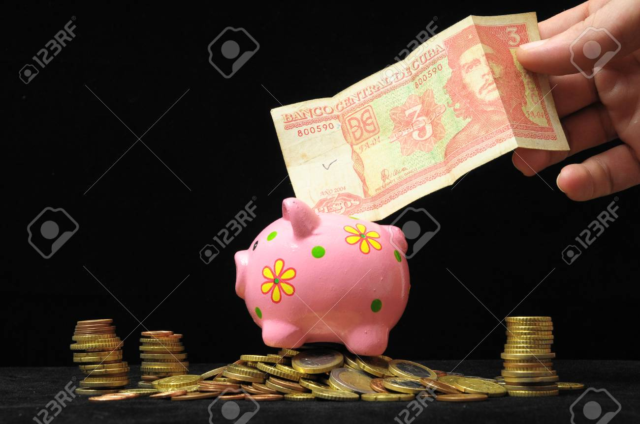 Saving Money with One Pink Piggy Bank Stock Photo - 22335397