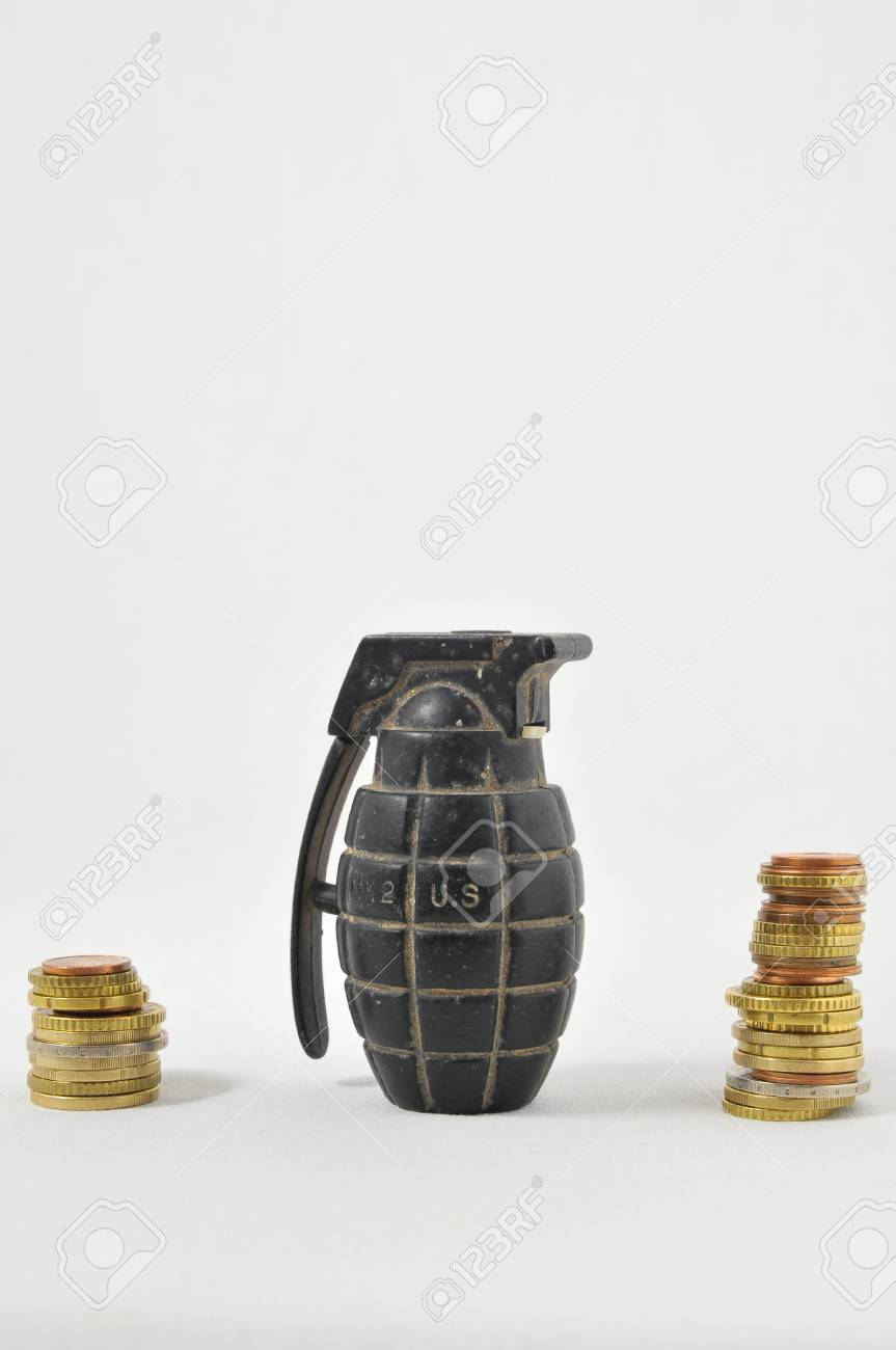 Money for War Concept Hand Grenade and Money Stock Photo - 22761161