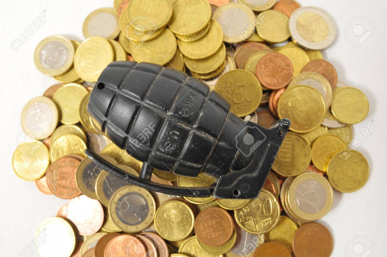 Money for War Concept Hand Grenade and Money Stock Photo - 22761166