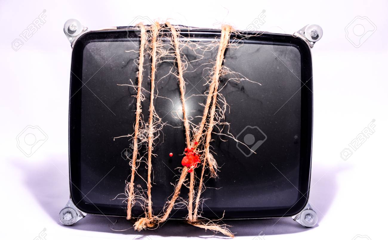 Vintage Cathode Ray Tube Crt Wrapped With Twine Stock Photo Picture