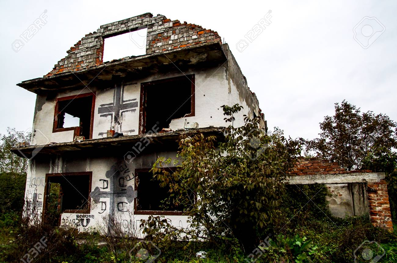 bosnian abandoned house near the street after the war