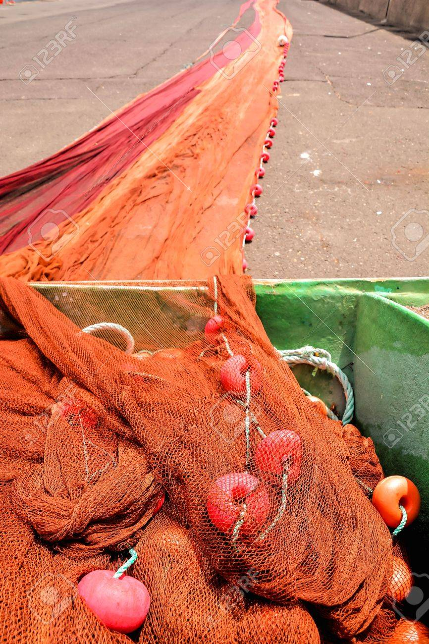 Photo Picture Of Colored Fishing Net At An Old Port Stock Photo ...