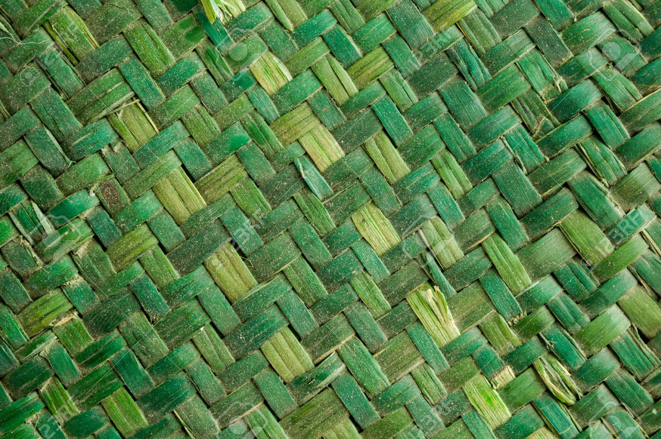 Green Vimini Bamboo weaving texture background pattern