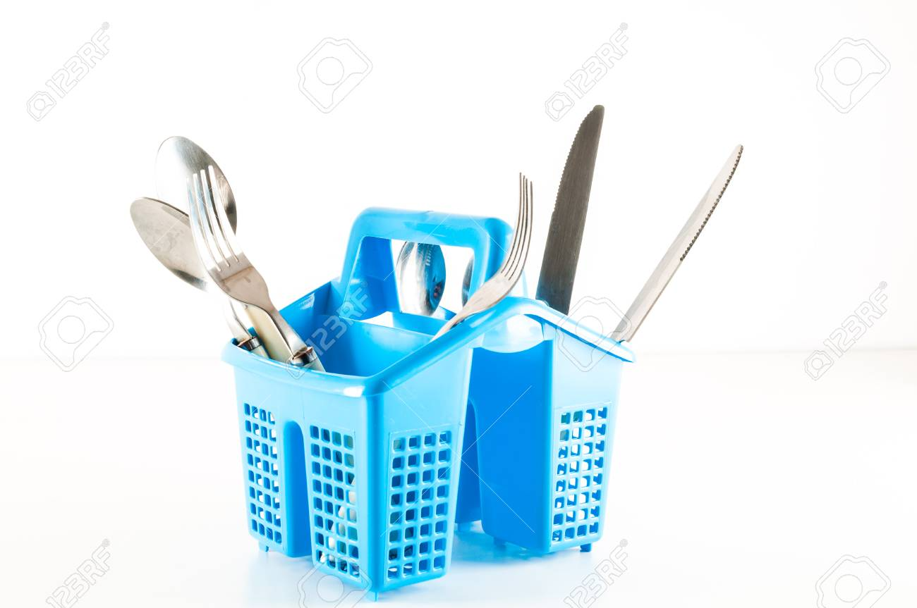 Plastic Kitchen Utensils In Cup Holder On White Background Stock Photo    96488643